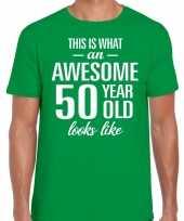 Awesome 50 year verjaardag cadeau t-shirt groen heren