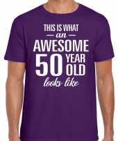 Awesome 50 year verjaardag cadeau t-shirt paars heren