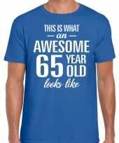 Awesome 65 year verjaardag cadeau t-shirt blauw heren