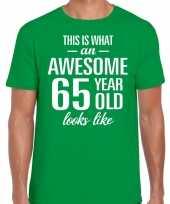 Awesome 65 year verjaardag cadeau t-shirt groen heren