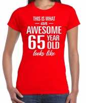Awesome 65 year verjaardag cadeau t-shirt rood dames