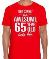 Awesome 65 year verjaardag cadeau t-shirt rood heren