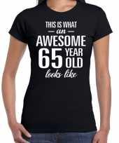 Awesome 65 year verjaardag cadeau t-shirt zwart dames