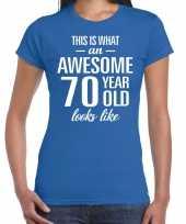 Awesome 70 year cadeau t-shirt blauw dames