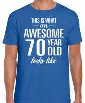 Awesome 70 year verjaardag cadeau t-shirt blauw heren