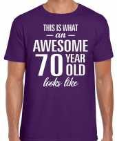 Awesome 70 year verjaardag cadeau t-shirt paars heren
