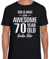 Awesome 70 year verjaardag cadeau t-shirt zwart heren