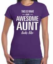 Awesome aunt cadeau t-shirt paars dames