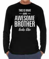 Awesome brother broer cadeau shirt zwart heren