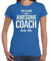 Awesome coach cadeau t-shirt blauw dames coach bedankt cadeau