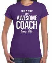 Awesome coach cadeau t-shirt paars dames coach bedankt cadeau