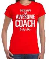 Awesome coach cadeau t-shirt rood dames coach bedankt cadeau