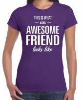 Awesome friend kado t-shirt paars dames