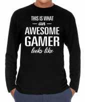 Awesome gamer cadeau shirt zwart heren