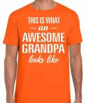 Awesome grandpa opa cadeau t-shirt oranje heren