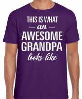 Awesome grandpa opa cadeau t-shirt paars heren