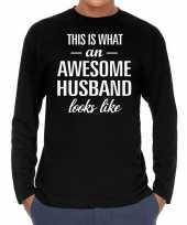 Awesome husband man cadeau shirt zwart heren