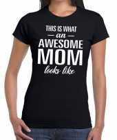 Awesome mom fun t-shirt zwart dames