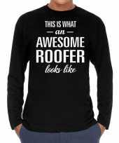Awesome roofer dakdekker cadeau shirt zwart heren