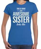 Awesome sister fun t-shirt blauw dames