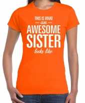 Awesome sister fun t-shirt oranje dames