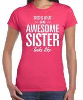Awesome sister fun t-shirt roze dames