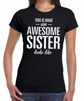 Awesome sister fun t-shirt zwart dames