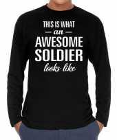 Awesome soldier soldaat cadeau shirt zwart heren