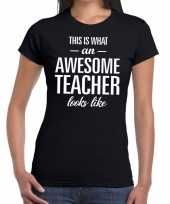 Awesome teacher fun t-shirt zwart dames