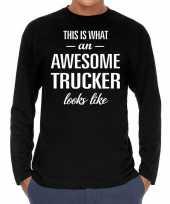 Awesome trucker vrachtwagenchauffeur cadeau shirt zwart heren