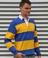 Blauw geel gestreept-shirt