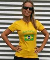 Dames t-shirt braziliaanse vlag