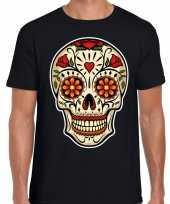 Day of the dead sugar skull rocker t-shirt zwart heren