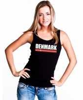 Denemarken supporter mouwloos shirt tanktop zwart dames