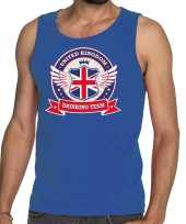 Engeland drinking team tanktop mouwloos shirt blauw heren
