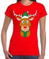 Foute kerst t-shirt rood ruldolf rendier groene muts dames