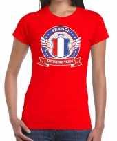 Frankrijk drinking team t-shirt rood dames