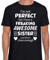 Freaking awesome sister zus cadeau t-shirt zwart heren