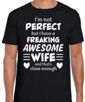 Freaking awesome wife vrouw cadeau t-shirt zwart heren