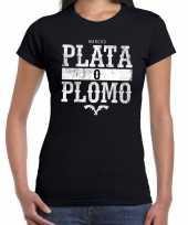 Gangster shirt narcos plata o plomo bedrukking zwart dames