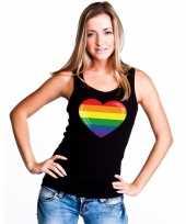 Gay pride mouwloos shirt regenboog vlag hart zwart dames