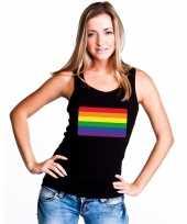 Gay pride mouwloos shirt regenboog vlag zwart dames