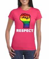 Gay pride respect lgbt-shirt roze dames