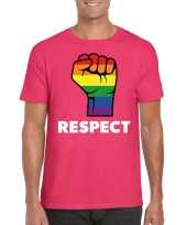 Gay pride respect lgbt-shirt roze heren