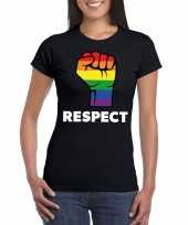 Gay pride respect lgbt-shirt zwart dames