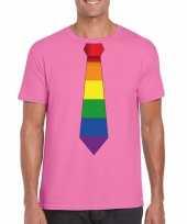 Gay pride shirt regenboog stropdas azalea roze heren