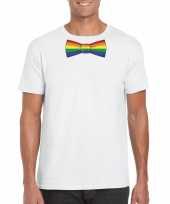 Gay pride shirt regenboog vlinderstrikje wit heren
