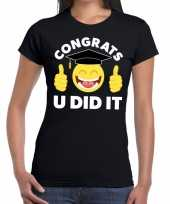 Geslaagd shirt congrats u did it zwart dames