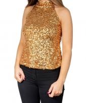 Glitter pailletten stretch halter shirt topje goud dames