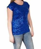 Glitter pailletten stretch shirt blauw dames l xl